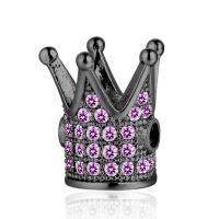 Befestigte Zirkonia Perlen, Messing, Krone, Micro pave Zirkonia, keine, frei von Nickel, Blei & Kadmium, 10x12mm, Bohrung:ca. 1mm, 2PCs/Menge, verkauft von Menge