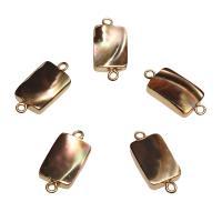 Muschel Schmuckverbinder, mit Messing, Rechteck, goldfarben plattiert, 1/1-Schleife, 22x10x3mm, Bohrung:ca. 1.8mm, 10PCs/Tasche, verkauft von Tasche