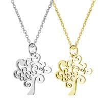 Edelstahl Schmuck Halskette, Baum, Oval-Kette & für Frau, keine, 19.5x24mm, Länge:ca. 15.75 ZollInch, 2SträngeStrang/Menge, verkauft von Menge