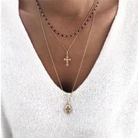 Mode-Multi-Layer-Halskette, Zinklegierung, plattiert, mehrschichtig & für Frau & Emaille, goldfarben, frei von Nickel, Blei & Kadmium, verkauft von Strang