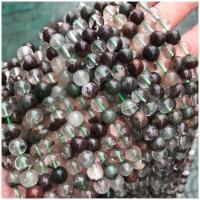 Grüner Phantomquarz Perle, rund, poliert, verschiedene Größen vorhanden, Bohrung:ca. 1mm, verkauft von Strang