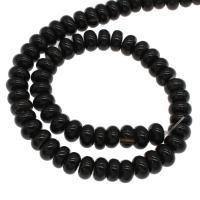Natürliche schwarze Achat Perlen, Schwarzer Achat, plattiert, schwarz, 10x10x7mm, Bohrung:ca. 1mm, 64PCs/Strang, verkauft von Strang