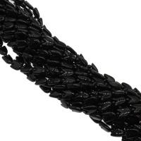 Natürliche schwarze Achat Perlen, Schwarzer Achat, plattiert, DIY, schwarz, 10x13x5mm, Bohrung:ca. 2mm, 25PCs/Strang, verkauft von Strang