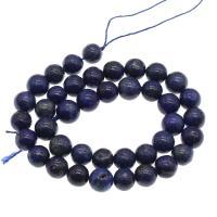 Lapislazuli Perlen, rund, plattiert, verschiedene Größen vorhanden, blau, Bohrung:ca. 1mm, verkauft von Strang