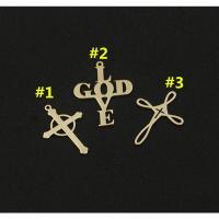 gold-gefüllt Anhänger, Kreuz, plattiert, verschiedene Stile für Wahl & für Frau, frei von Nickel, Blei & Kadmium, 21.7x16.7x0.8mmuff0c20x15.1x0.8mmuff0c20x13.1x0.8mm, verkauft von PC