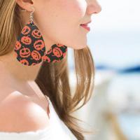 PU Leder Tropfen Ohrring, mit Zinklegierung, Messing Haken, plattiert, für Frau, keine, 36*56mm, verkauft von Paar