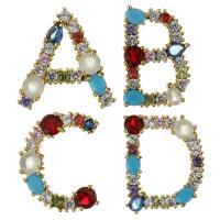 Befestigter Zirkonia Messing Anhänger, mit Kunststoff Perlen, vergoldet, Buchstaben sind von A bis Z & verschiedene Stile für Wahl & Micro pave Zirkonia & Doppelloch, frei von Nickel, Blei & Kadmium, 10PCs/Menge, verkauft von Menge
