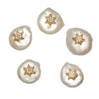 Barock kultivierten Süßwassersee Perlen, Natürliche kultivierte Süßwasserperlen, mit Messing, goldfarben plattiert, Micro pave Zirkonia, weiß, 18x15x11mm, Bohrung:ca. 0.8mm, verkauft von PC