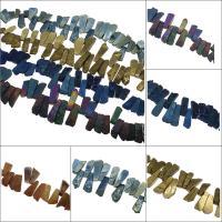 Natürliche Eis Quarz Achat Perlen, Eisquarz Achat, plattiert, keine, 55x20x13mm/30x23x10mm, Bohrung:ca. 2mm, ca. 31PCs/Strang, verkauft von Strang