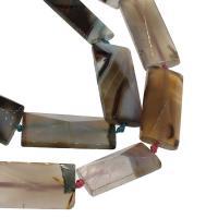 Natürliche Streifen Achat Perlen, Rechteck, 21x46x13mm, Bohrung:ca. 2mm, ca. 10PCs/Strang, verkauft von Strang