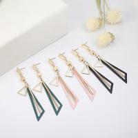 Zinklegierung Ohrringe, goldfarben plattiert, Koreanischen Stil & für Frau, keine, frei von Nickel, Blei & Kadmium, 12x90mm, 2PaarePärchen/Menge, verkauft von Menge