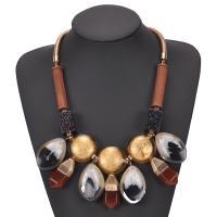 Lampwork Halskette, mit Holz & Harz & Zinklegierung, mit Verlängerungskettchen von 9cm, plattiert, für Frau, keine, Länge:21.2 ZollInch, verkauft von Paar