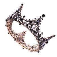 Krone, Zinklegierung, Messing antik Farbe überzogen, für Braut & mit Strass, schwarz, frei von Nickel, Blei & Kadmium, 120x65mm, verkauft von PC