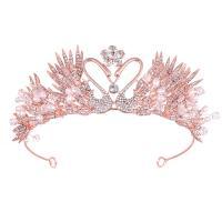 Krone, Zinklegierung, mit ABS-Kunststoff-Perlen, Rósegold-Farbe plattiert, für Frau & mit Strass, frei von Nickel, Blei & Kadmium, 370x60mm, verkauft von PC