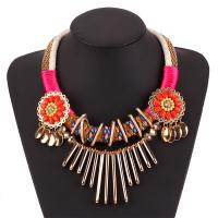 Zinklegierung Halskette, mit Baumwolle Schnur & Harz & Acryl, plattiert, für Frau & mit Strass, farbenfroh, frei von Nickel, Blei & Kadmium, verkauft von Strang