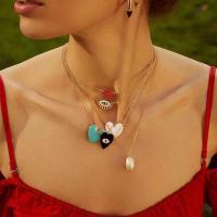 Zinklegierung Schmuck Halskette, mit Kunststoff Perlen, plattiert, verschiedene Stile für Wahl & für Frau & mit Strass, frei von Nickel, Blei & Kadmium, verkauft von Strang