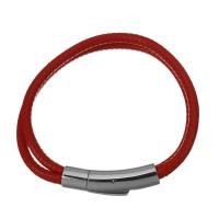 Nylonschnur Armbänder, Edelstahl Bajonettverschluss, für Frau & 2 strängig, rot, 30x8.5mm,4mm, Länge:ca. 7 ZollInch, 15SträngeStrang/Menge, verkauft von Menge