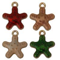 Zink-Legierung-Emaille-Anhänger, Zinklegierung, Seestern, Rósegold-Farbe plattiert, keine, frei von Nickel, Blei & Kadmium, 14x16x2.50mm, Bohrung:ca. 2mm, 50PCs/Menge, verkauft von Menge