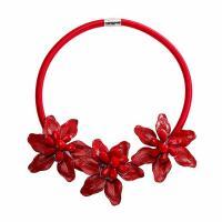 Kristall Zinklegierung Halskette, mit PU Leder & Kristall, Blume, Einbrennlack, für Frau, keine, frei von Nickel, Blei & Kadmium, 70mm, verkauft per ca. 20.08 ZollInch Strang