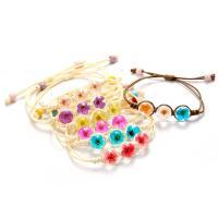 Glas Armband, mit Getrocknete Blumen & Baumwolle Schnur, für Frau, keine, frei von Nickel, Blei & Kadmium, 12mm, Länge:ca. 8 ZollInch, 2PCs/Menge, verkauft von Menge