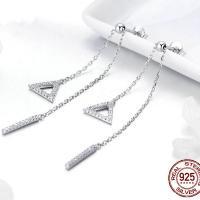 Zirkonia Mikro pflastern Sterlingsilber-Ohr, 925er Sterling Silber, platiniert, Micro pave Zirkonia & für Frau, 13x2mmuff0c10x10mm,65mm, verkauft von Paar