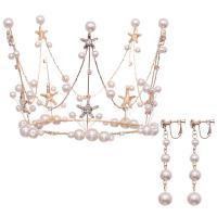 Braut Schmucksets, Zinklegierung, KroneWirbel & Ohrring, mit ABS-Kunststoff-Perlen, goldfarben plattiert, für Braut & mit Strass, frei von Nickel, Blei & Kadmium, 105x340mm,70mm, verkauft von setzen