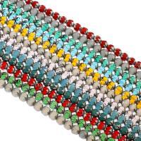 Runde Kristallperlen, Kristall, silberfarben plattiert, mehrere Farben vorhanden, 8x7mm, Bohrung:ca. 1mm, ca. 40PCs/Strang, verkauft von Strang
