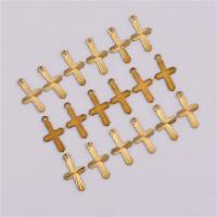 Messing Kreuz Anhänger, originale Farbe, frei von Nickel, Blei & Kadmium, 13.50x7.50x0.60mm, Bohrung:ca. 1mm, 50PCs/Tasche, verkauft von Tasche