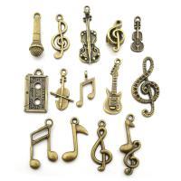 Musikinstrument Zinklegierung Anhänger, plattiert, DIY, antike Bronzefarbe, frei von Nickel, Blei & Kadmium, 17x28mm, 2Taschen/Menge, 70PCs/Tasche, verkauft von Menge