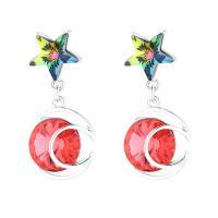 Zinklegierung Tropfen Ohrring, mit Österreichischer Kristall, plattiert, Koreanischen Stil & für Frau, keine, frei von Nickel, Blei & Kadmium, 14x30mm, 2PaarePärchen/Menge, verkauft von Menge