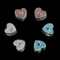 Zinklegierung Herz Perlen, plattiert, DIY & mit Strass, keine, frei von Nickel, Blei & Kadmium, 11*11mm, 25PCs/Tasche, verkauft von Tasche