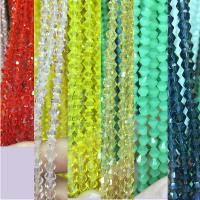 Kristall-Perlen, Kristall, mehrere Farben vorhanden, 3mm, Bohrung:ca. 1mm, ca. 140PCs/Strang, 5SträngeStrang/Menge, verkauft von Strang
