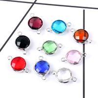 Glas Schmuckverbinder, plattiert, facettierte & 1/1-Schleife, keine, 10mm, 10PCs/Tasche, verkauft von Tasche