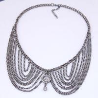 Kragen Halskette, Zinklegierung, plattiert, für Frau & mit Strass, keine, frei von Nickel, Blei & Kadmium, 400x120x46mm, verkauft von Strang