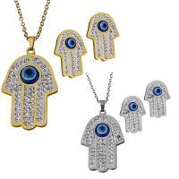 Edelstahl Mode Schmuckset, Halskette, mit Ton, Evil Eye Hamsa, plattiert, Oval-Kette & für Frau, keine, 24.5x38.5mm,2mm,18x25.5mm, Länge:ca. 18 ZollInch, verkauft von setzen