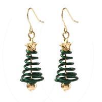 Zinklegierung Tropfen Ohrring, Weihnachtsbaum, plattiert, für Frau, frei von Nickel, Blei & Kadmium, 32x14mm, Länge:45 Millimeter, verkauft von Paar
