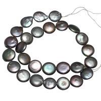 Button kultivierte Süßwasserperlen, Natürliche kultivierte Süßwasserperlen, Knopf, schwarz, 13-14mm, Bohrung:ca. 0.8mm, verkauft von Strang