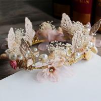 Brautkranz, Zinklegierung, mit Muschel, Hochzeitsgeschenk & für Frau, Champagner, 200x200x50mm, verkauft von PC