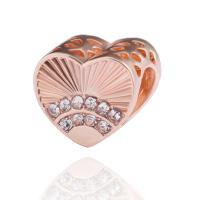 Zinklegierung Herz Perlen, plattiert, DIY & mit Strass, keine, frei von Nickel, Blei & Kadmium, 10*12mm, 10PCs/Tasche, verkauft von Tasche
