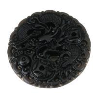 Schwarzer Obsidian Anhänger, flache Runde, DIY, schwarz, 50x50x9mm, Bohrung:ca. 1.5mm, verkauft von PC