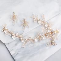 Braut Schmucksets, Haarspange & Ohrring, Kristall, mit Kunststoff Perlen & Zinklegierung, für Frau & mit Strass, mehrere Farben vorhanden, 26x16cm,4.5x5.5cm, verkauft von setzen