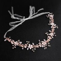 Brautkranz, Zinklegierung, mit Messingdraht & Kunststoff Perlen, für Frau & mit Strass, 34cm, verkauft von PC