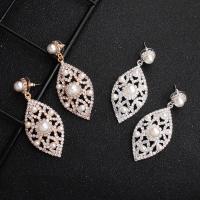 Braut Ohrring, Zinklegierung, mit Kunststoff Perlen, für Frau & mit Strass, keine, 6x2.3cm, verkauft von Paar