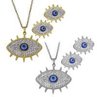 Edelstahl Mode Schmuckset, Halskette, mit Ton, blöser Blick, plattiert, Oval-Kette & für Frau, keine, 35x32.5mm,2mm,23.5x20mm, Länge:ca. 18 ZollInch, verkauft von setzen