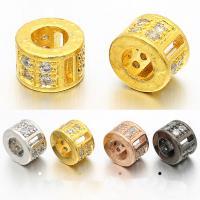 Messing Zylinder, plattiert, Micro pave Zirkonia, keine, frei von Nickel, Blei & Kadmium, 5x8mm, Bohrung:ca. 4.5mm, 5PCs/Tasche, verkauft von Tasche