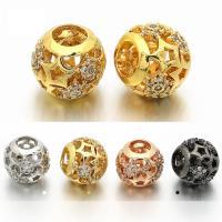 Messing rund, plattiert, Micro pave Zirkonia & hohl, keine, frei von Nickel, Blei & Kadmium, 9x10mm, Bohrung:ca. 4.5mm, 5PCs/Tasche, verkauft von Tasche