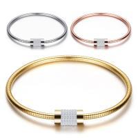 Edelstahl Europa Armband-Schnur, plattiert, für Frau & mit Strass, keine, 7.30mm, Innendurchmesser:ca. 67mm, verkauft von PC