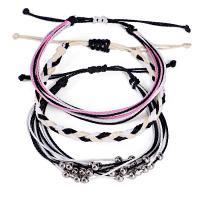 Gewachsten Baumwollkordel Armband-Set, Armband, für Frau, keine, frei von Nickel, Blei & Kadmium, 160mm,170mm, 3SträngeStrang/setzen, verkauft von setzen