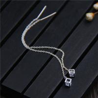 925er Sterling Silber Gewinde durch Ohrringe, poliert, Micro pave Zirkonia & für Frau, 4.5x4.5mmuff0c85mm, verkauft von Paar