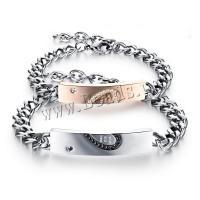 Titanstahl Ehepaar Armband, mit Verlängerungskettchen von 5cm, verschiedene Stile für Wahl & mit Strass, 9mm,10mm, verkauft per ca. 6.70 ZollInch, ca. 7.09 ZollInch Strang